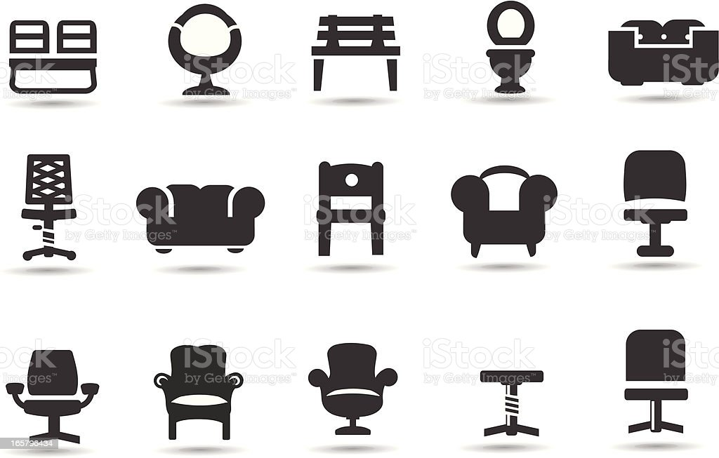 Chairs vector art illustration