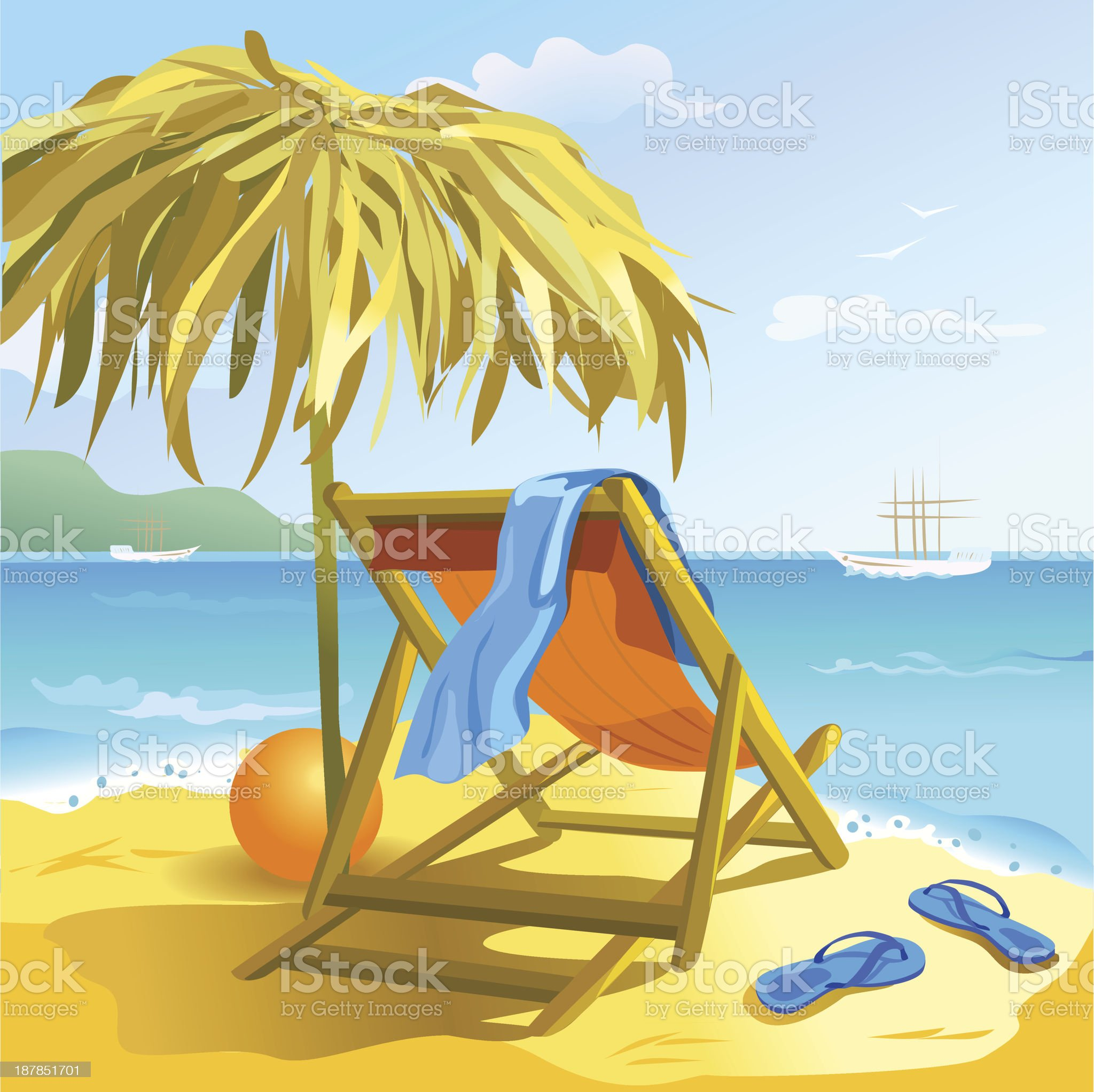 Chaise lounge on the beach royalty-free stock vector art