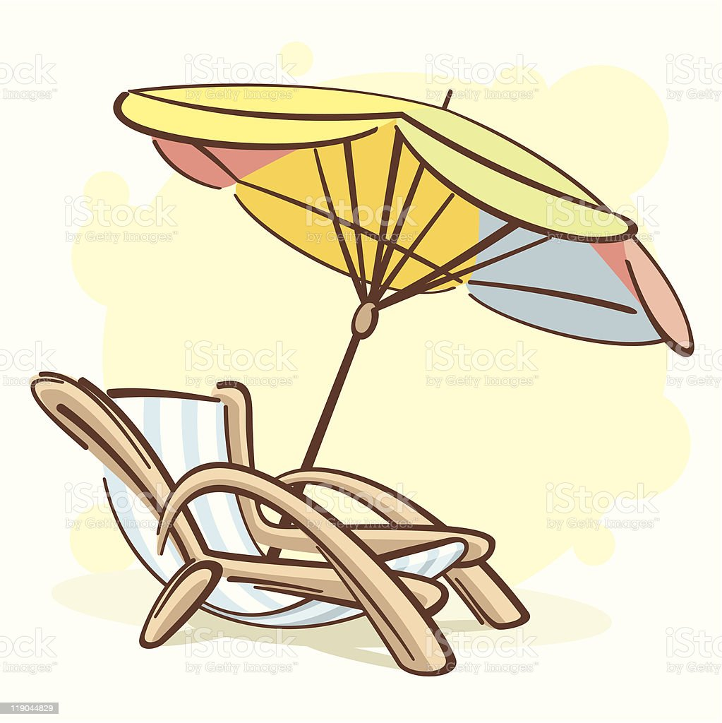 chaise-longue and parasol royalty-free stock vector art
