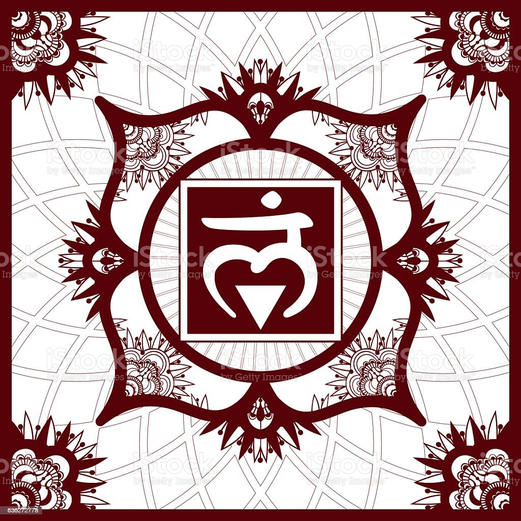 Chakra 1 Muladhara, Henna imitation square ornament vector art illustration