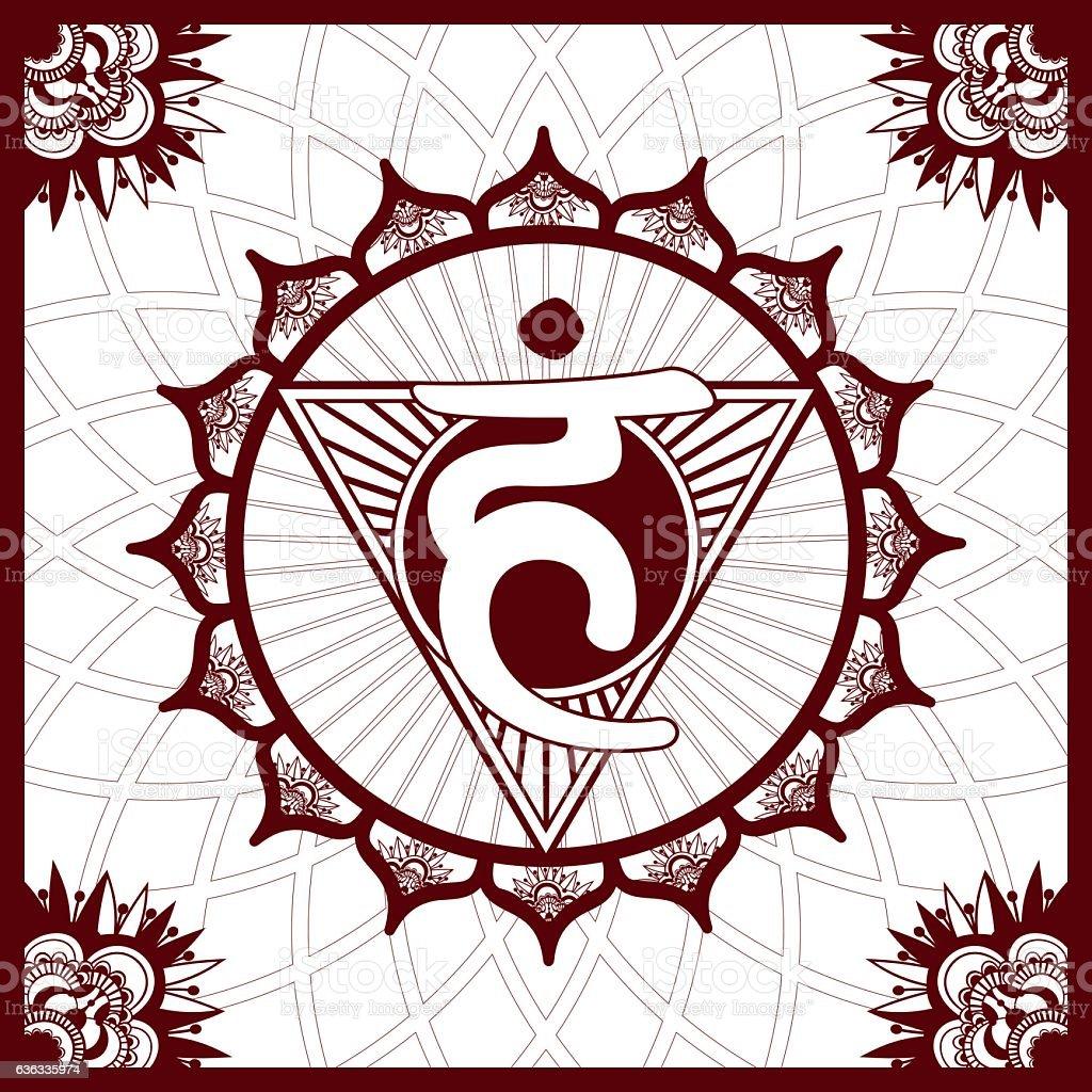 Chakra 5  Vishuddha, Henna imitation square ornament vector art illustration