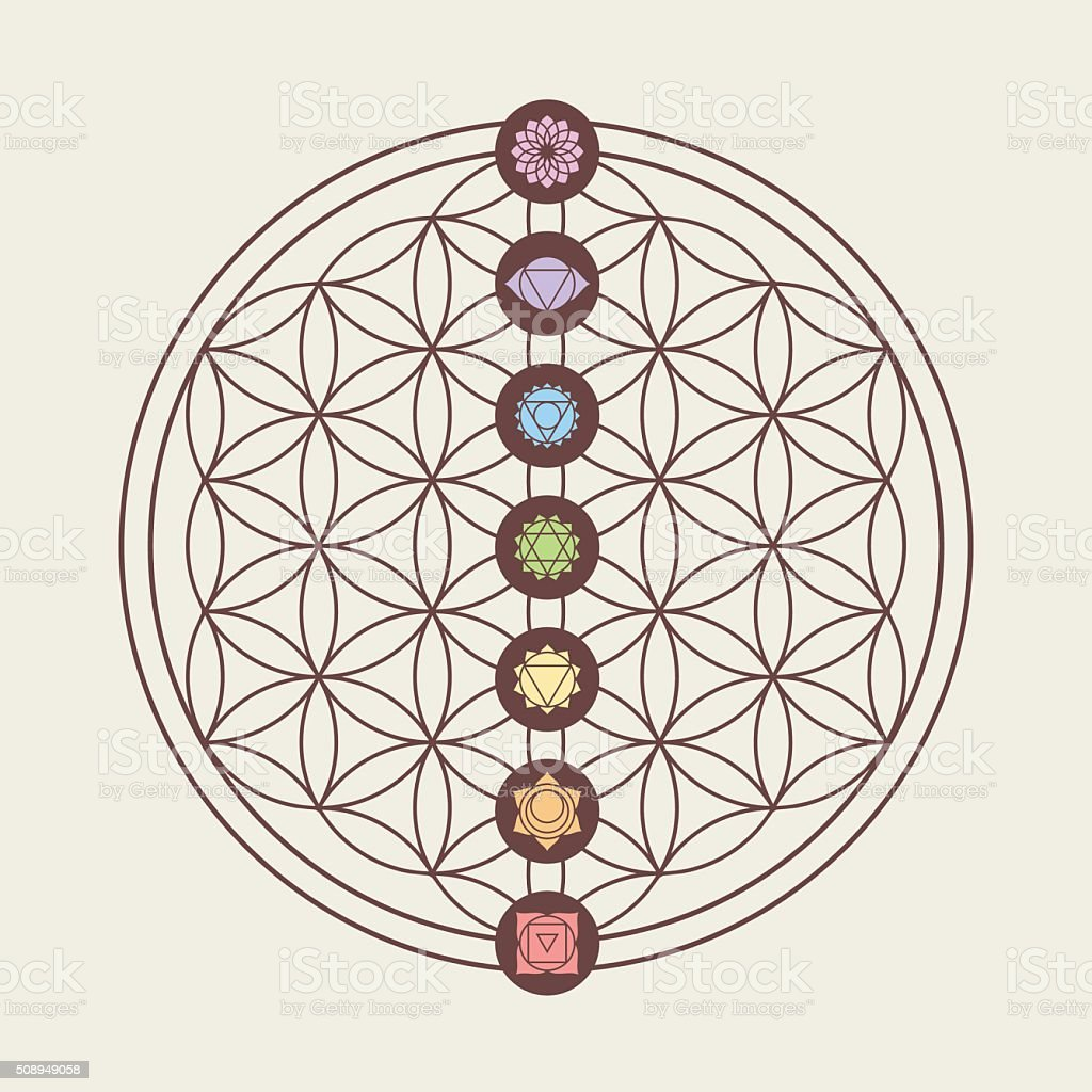Chakra icons on sacred geometry design vector art illustration