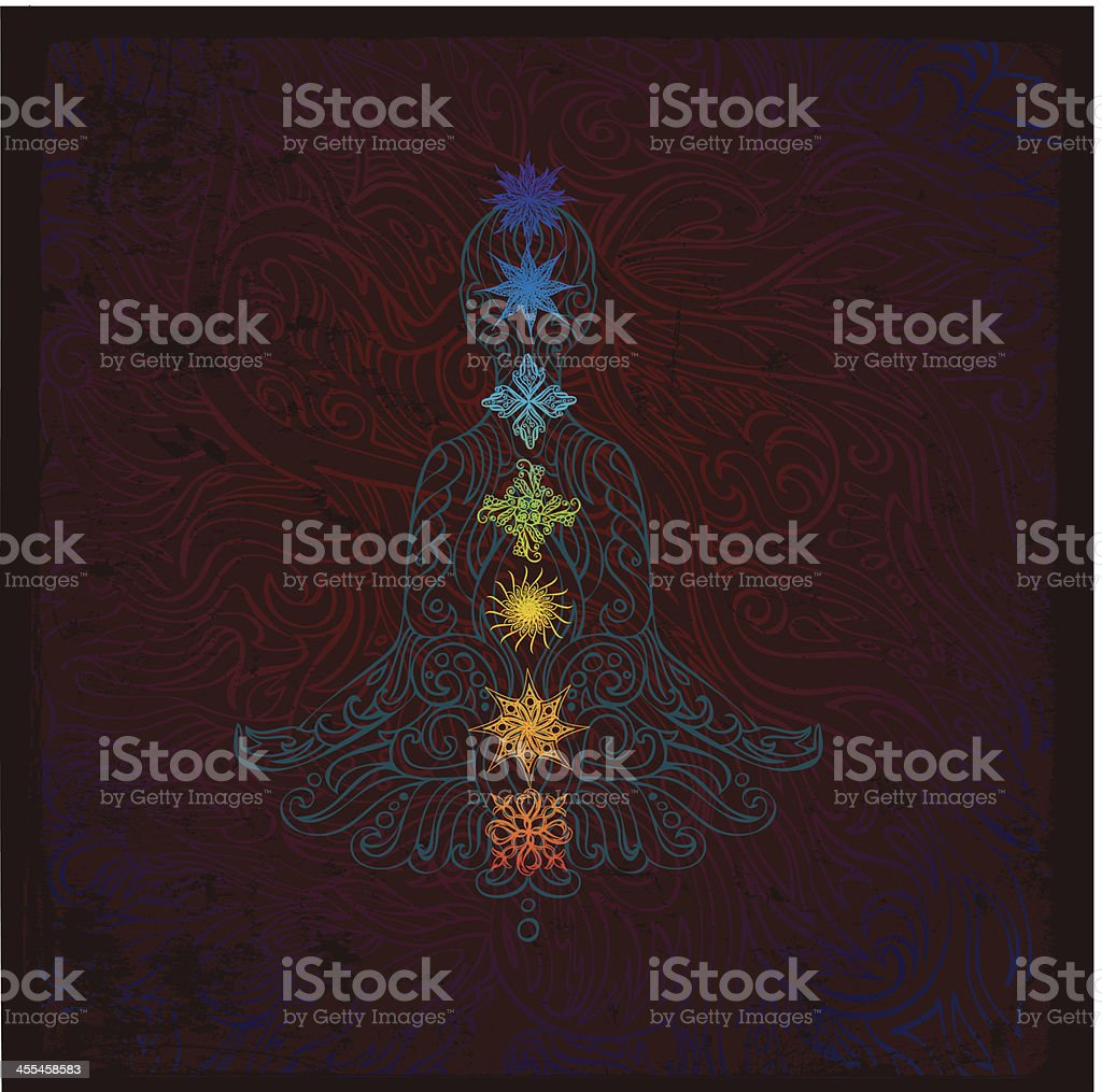 Chakra meditation drawing with colors royalty-free stock vector art