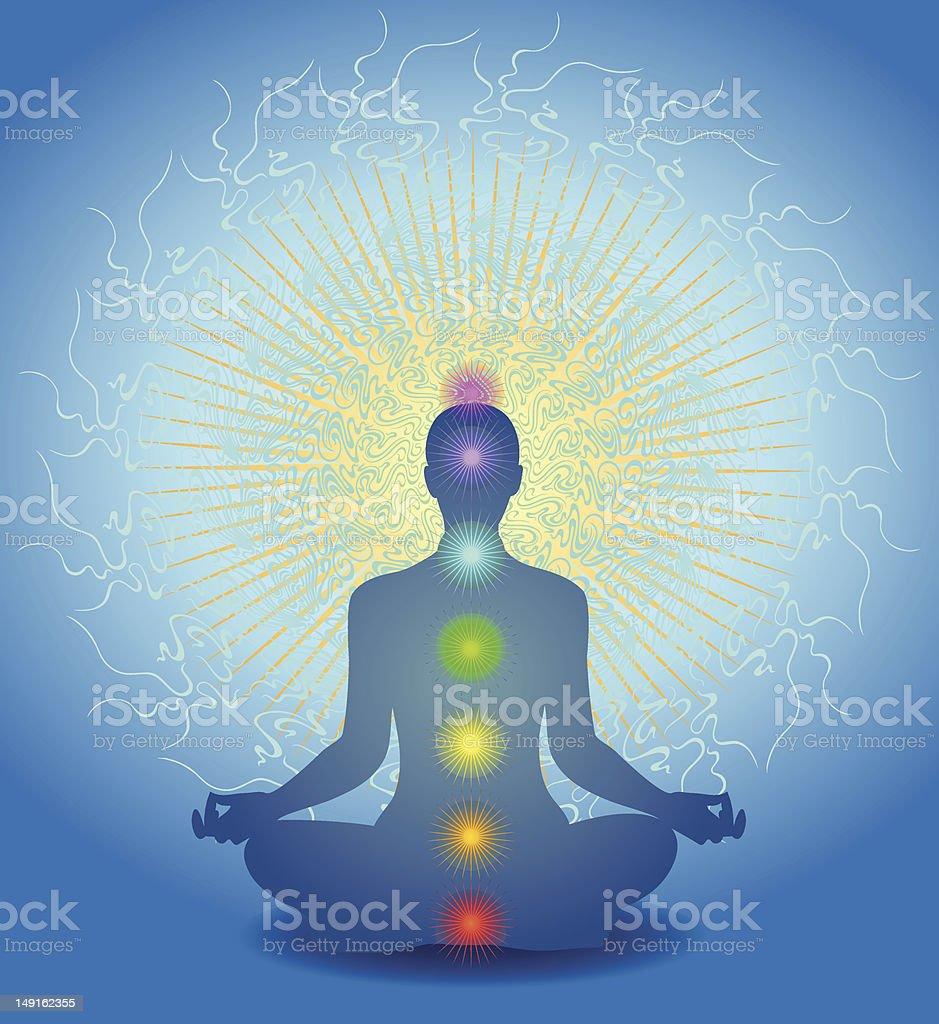 Chakra Meditation vector art illustration