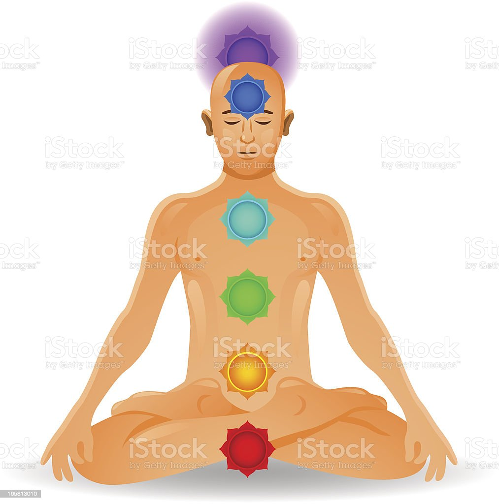 Chakra Meditation vector art illustration
