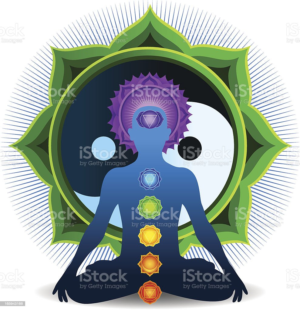 Chakra Meditation with Green Yin Yang vector art illustration