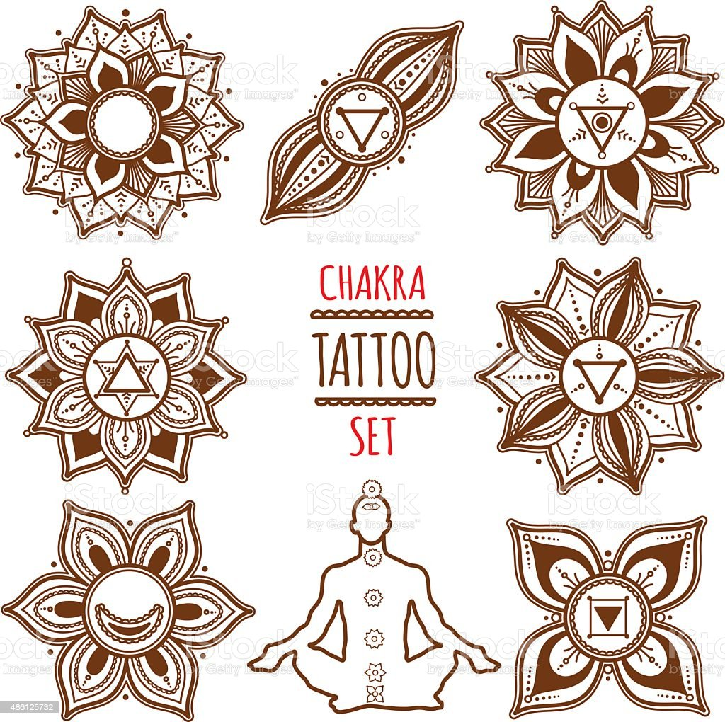 Chakra Set. Henna Tattoo. Mehndi Style. vector art illustration
