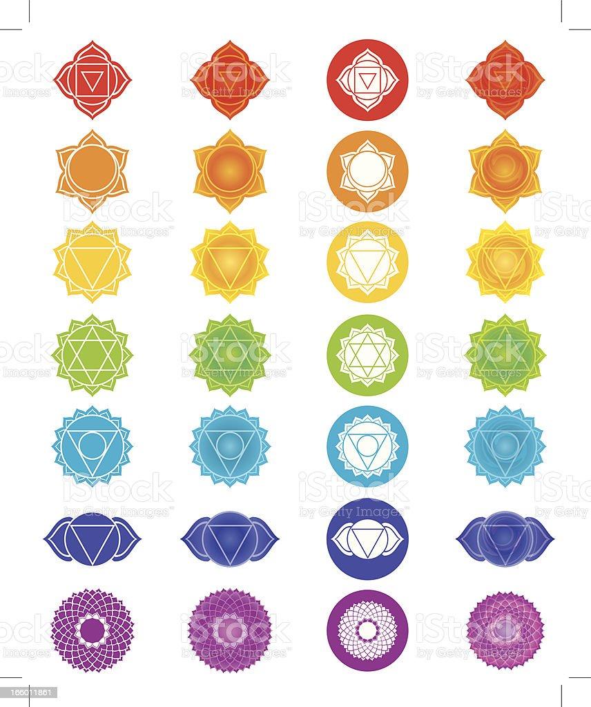 Chakra Symbols Icons Set vector art illustration