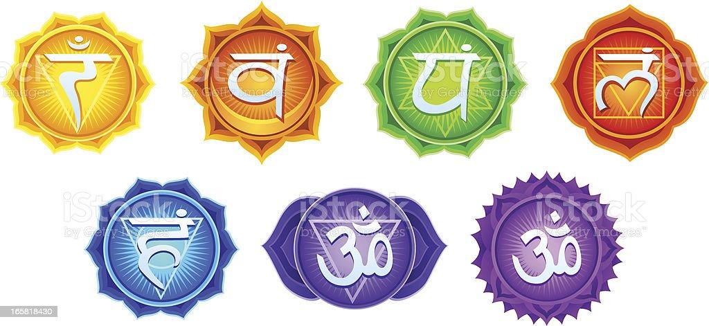 Chakra Symbols vector art illustration