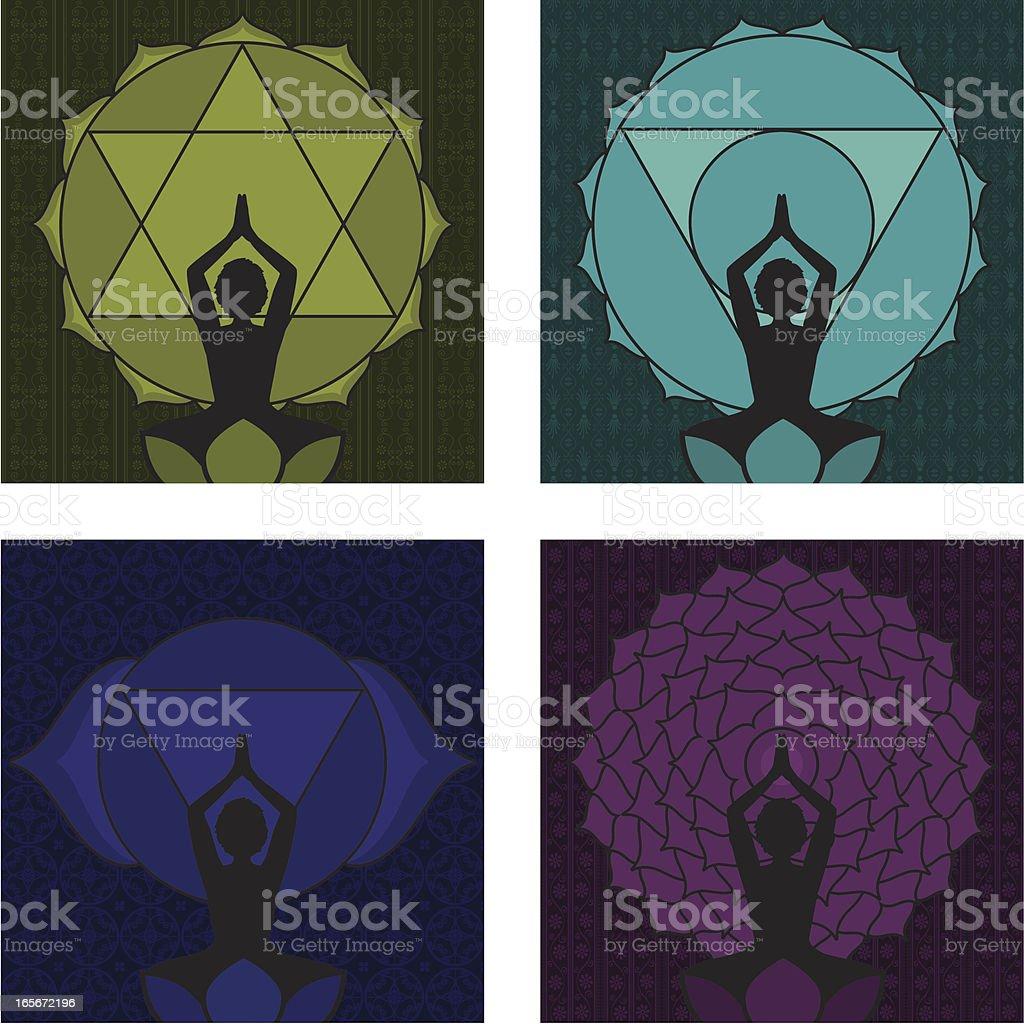 Chakras 4 - 7 royalty-free stock vector art