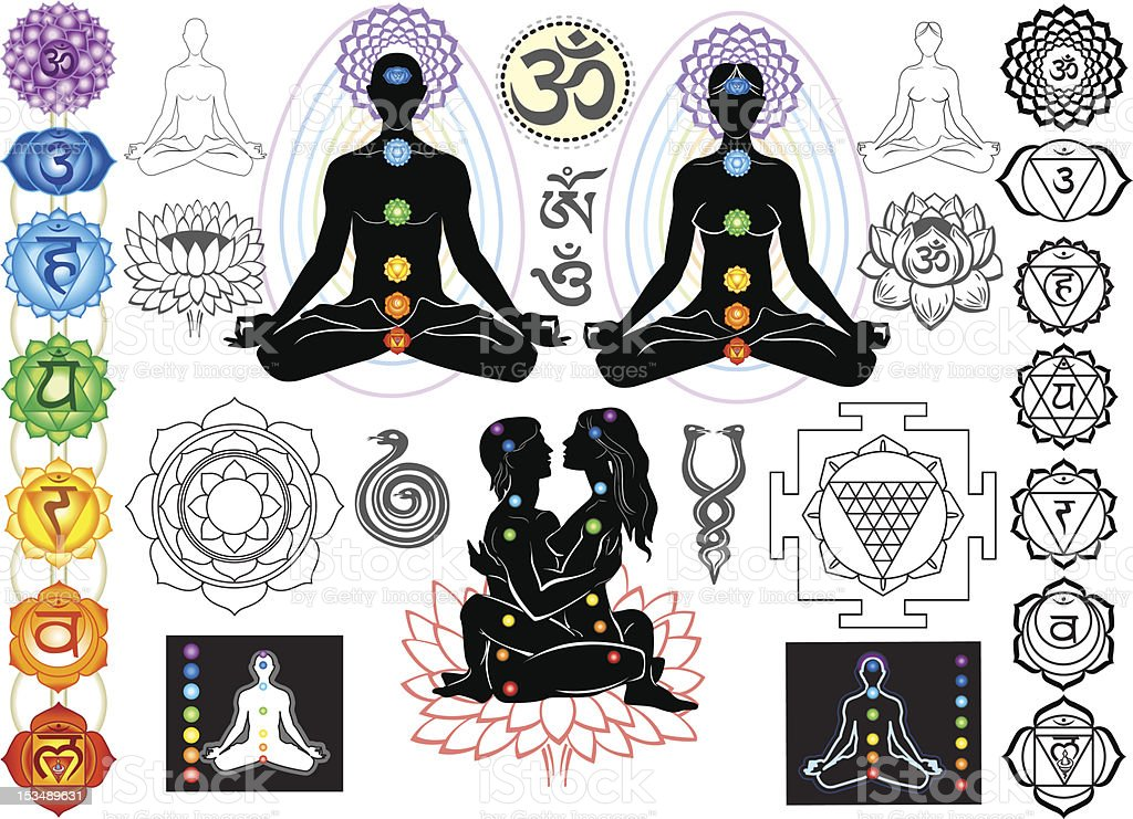 Chakras and esoteric symbols vector art illustration