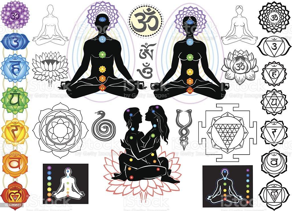 Chakras and esoteric symbols vector art illustration