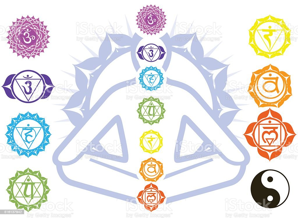Chakras and spirituality symbols on man in lotus pose vector art illustration