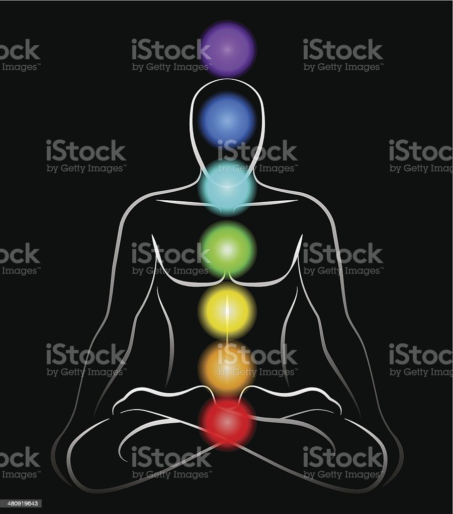Chakras Man Black royalty-free stock vector art