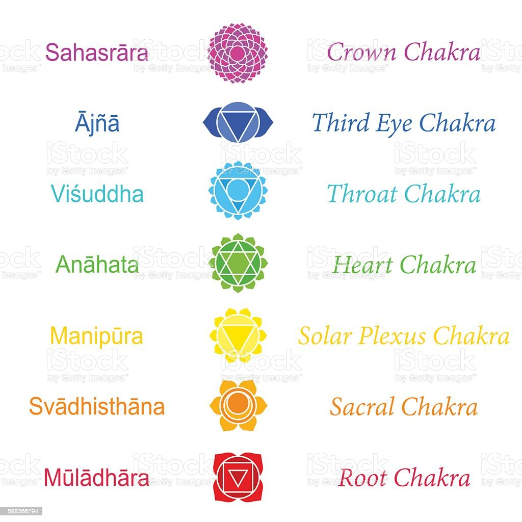 Chakras Sanskrit Names vector art illustration