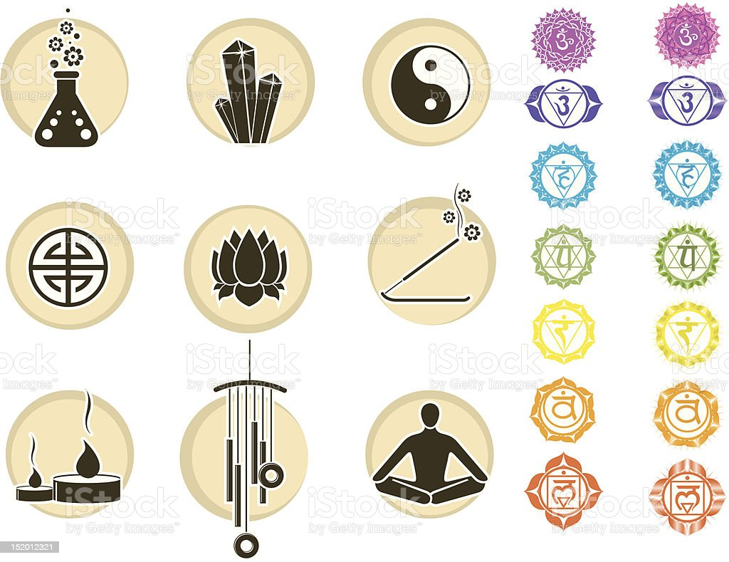 Chakras symbols and spirituality icons royalty-free stock vector art