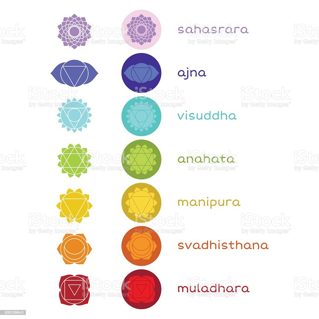 Chakras vector icons vector art illustration