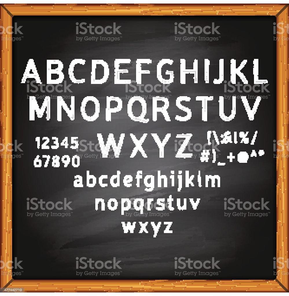 Chalk alphabet on a blackboard background vector art illustration