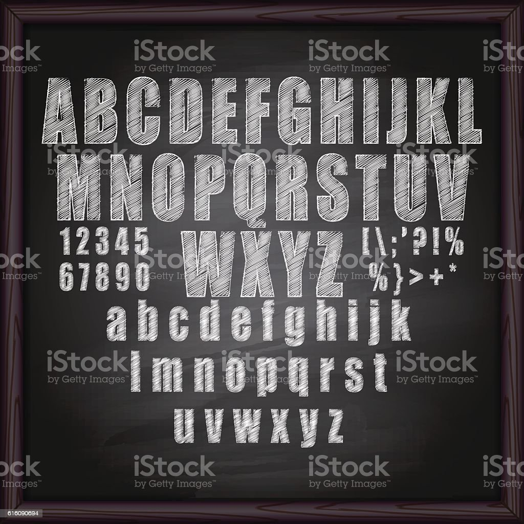 Chalk Alphabet  on blackboard vector art illustration