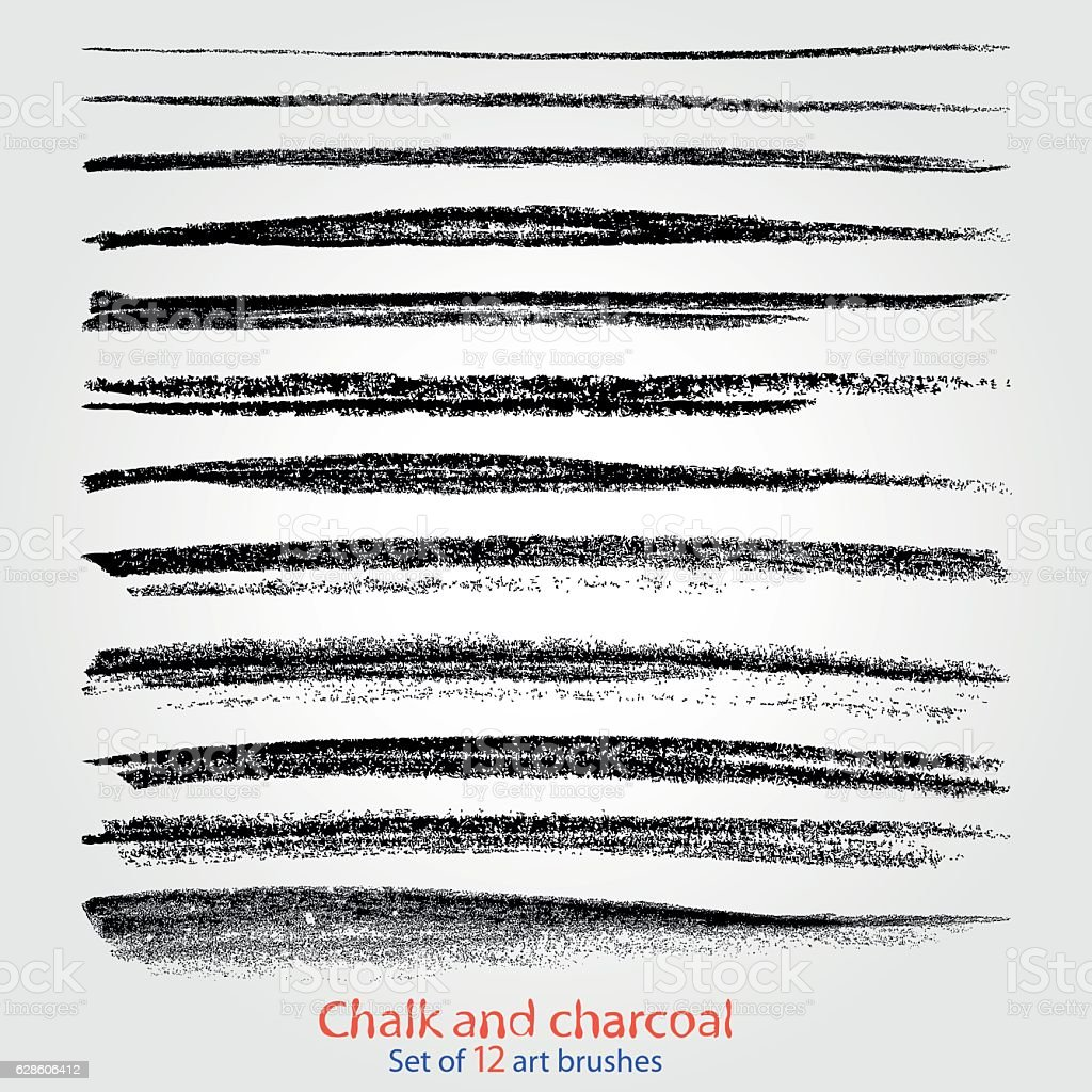 Chalk and charcoal. A set of vector brushstrokes. Grunge texture vector art illustration