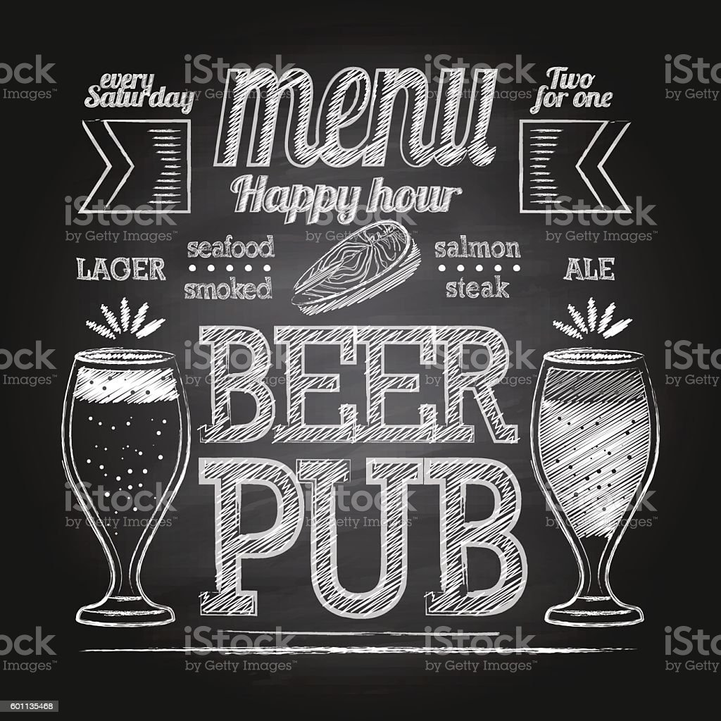Chalk beer glass on blackboard vector art illustration