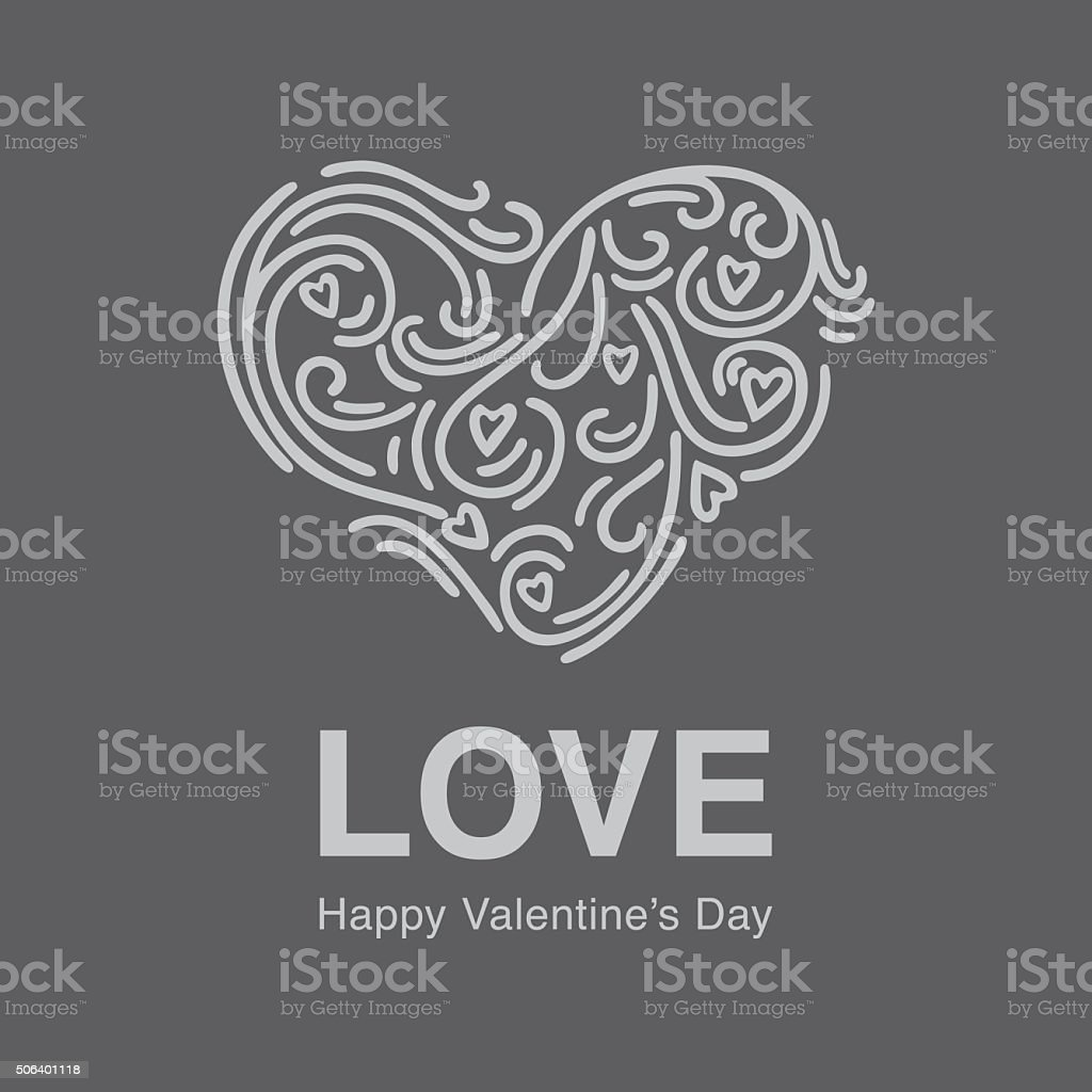 Chalk board hand drawn flourish heart shape vector art illustration