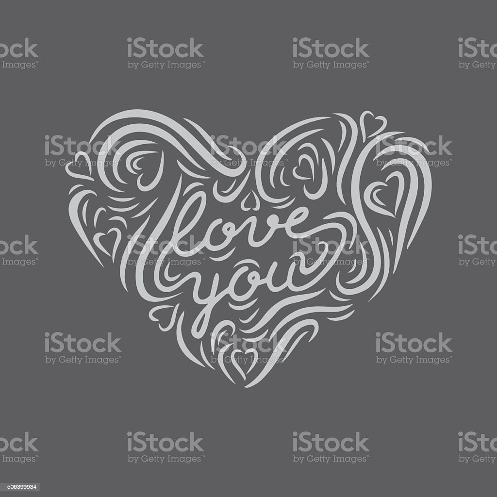 Chalk board hand drawn heart shape with lettering 'Love you' vector art illustration
