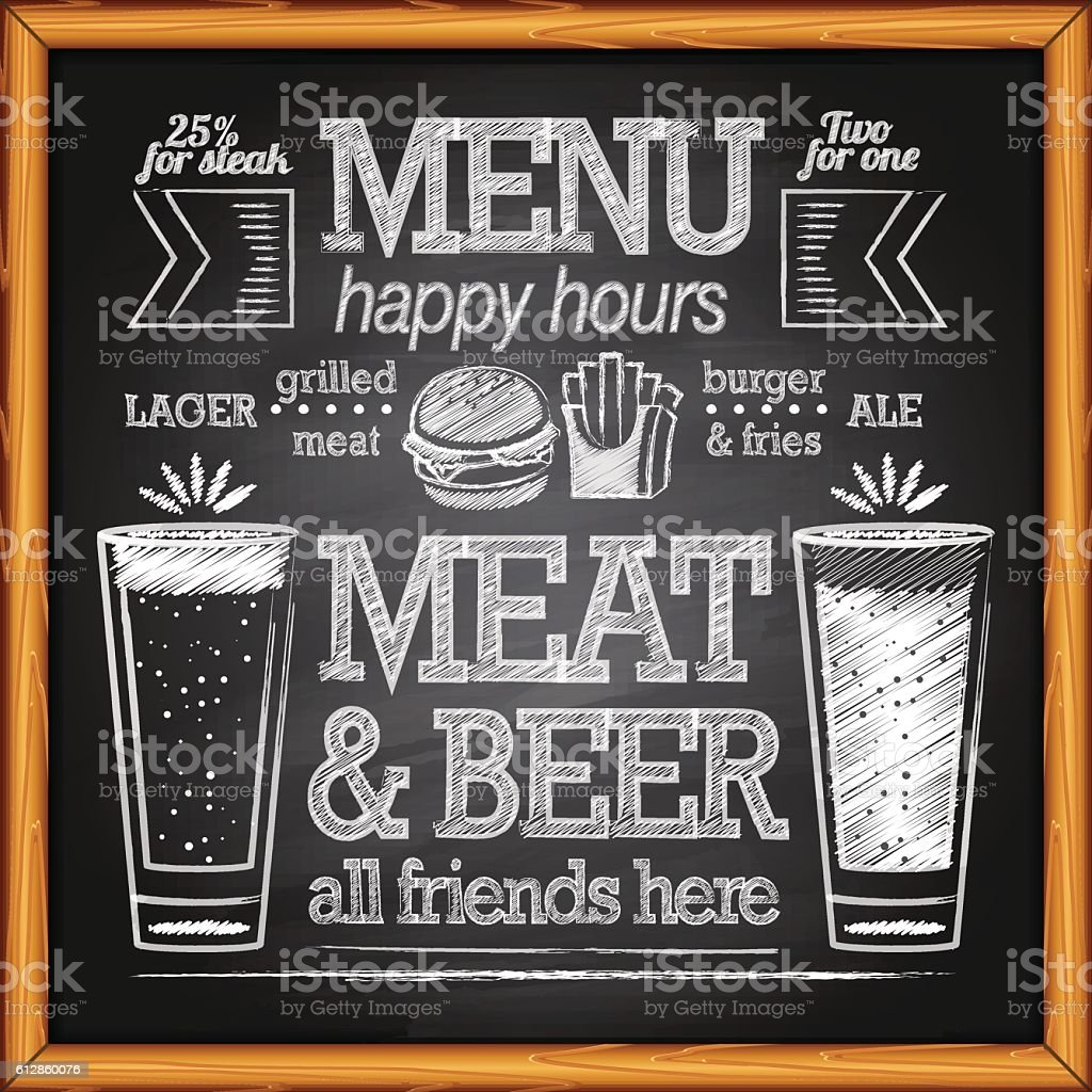 Chalk Brewery Menu on a blackboard vector art illustration