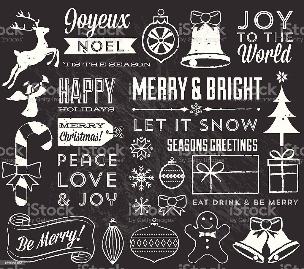 Chalk Christmas Elements vector art illustration