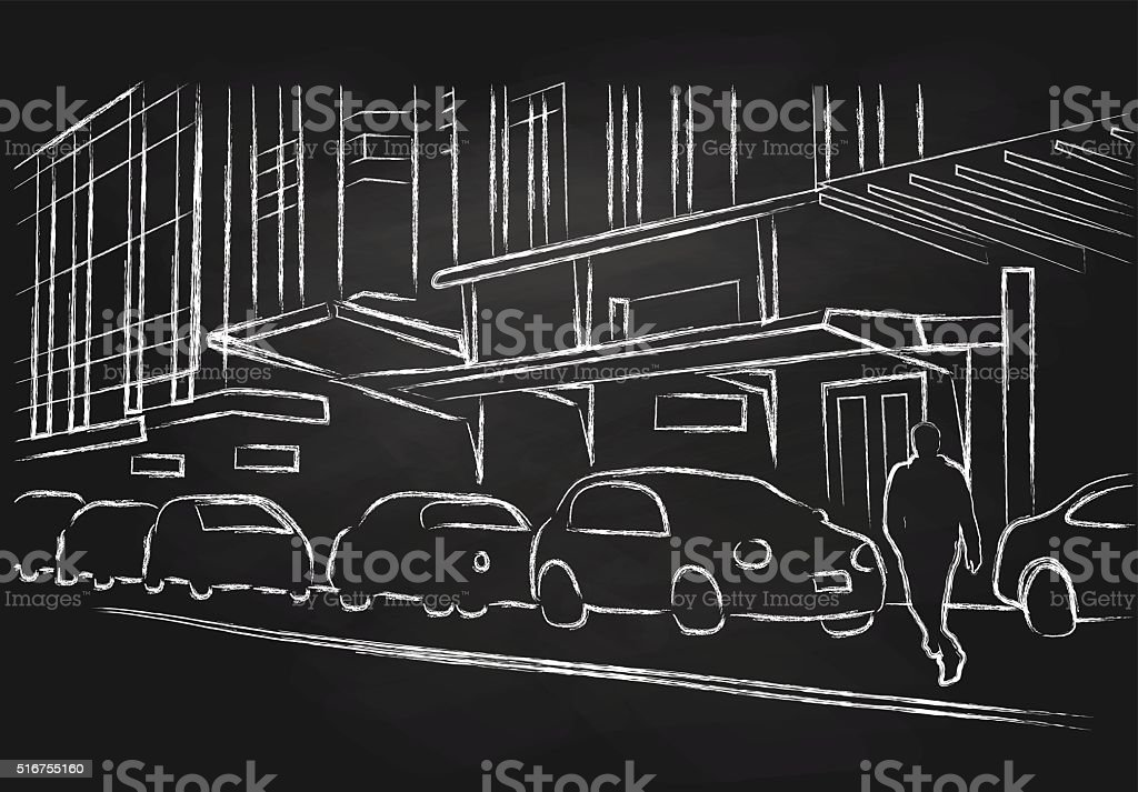 Chalk City Street vector art illustration