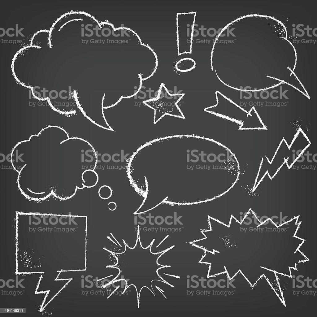 Chalk Comic bubbles and elements on a blackboard vector art illustration