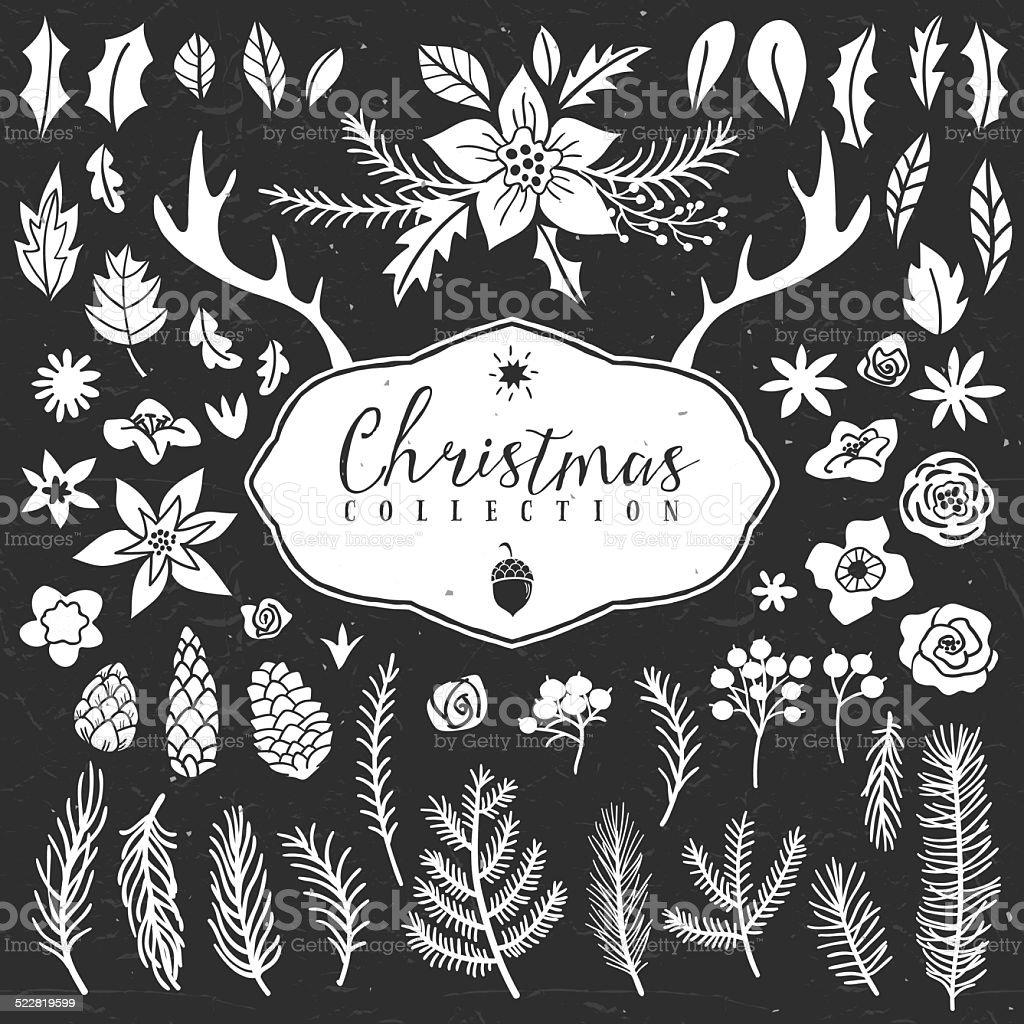 Chalk decorative plant items. Christmas collection. vector art illustration