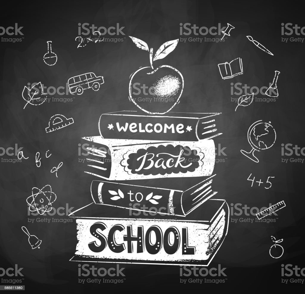 Chalk drawing of apple on stack of books vector art illustration