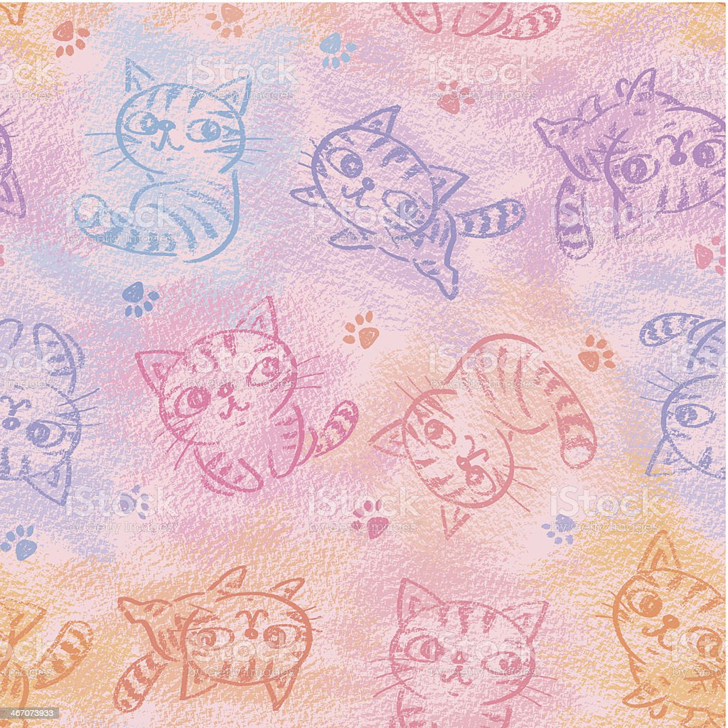 Chalk drawing of cats pattern royalty-free stock vector art