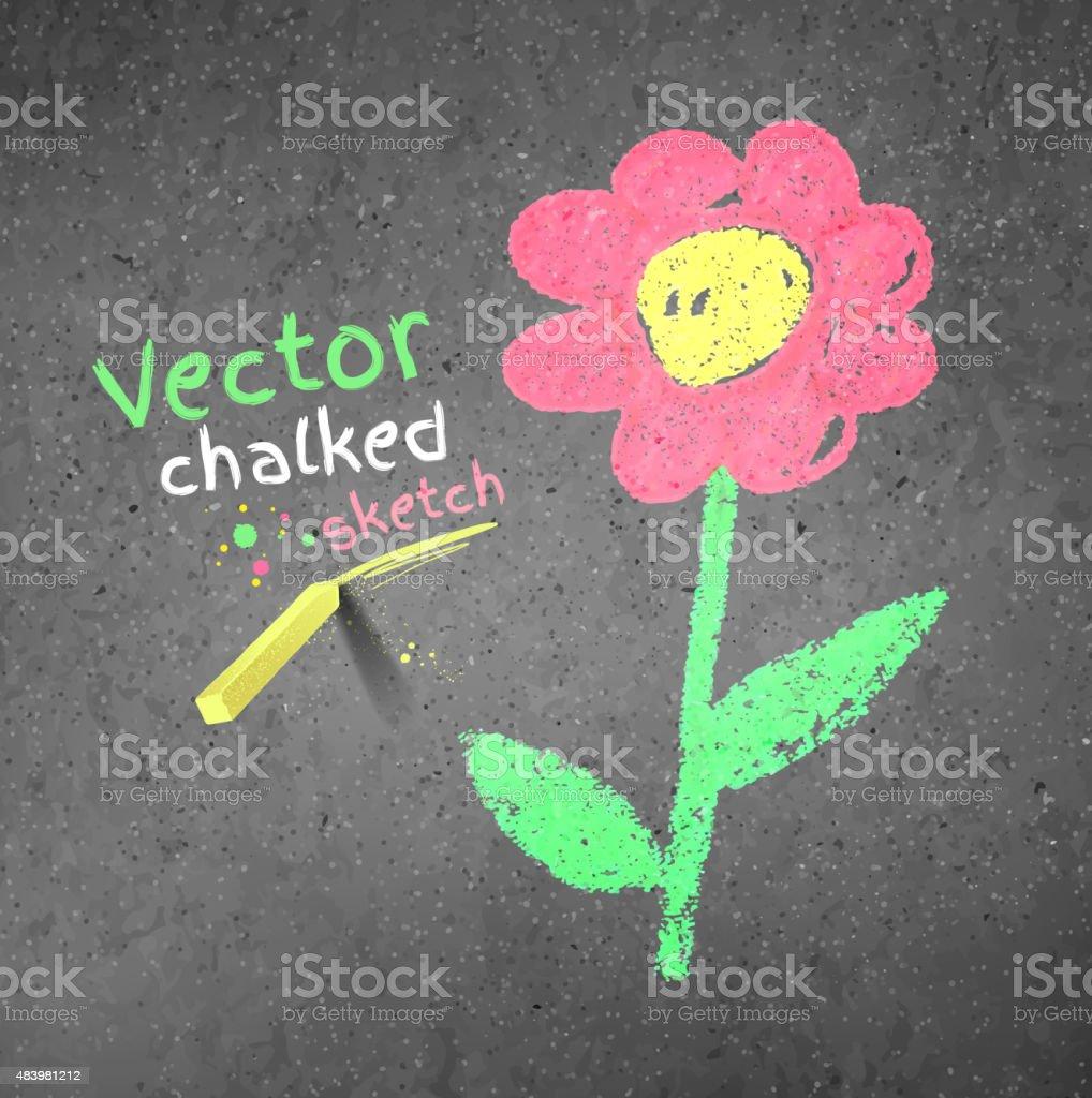 Chalk drawing of flower. vector art illustration