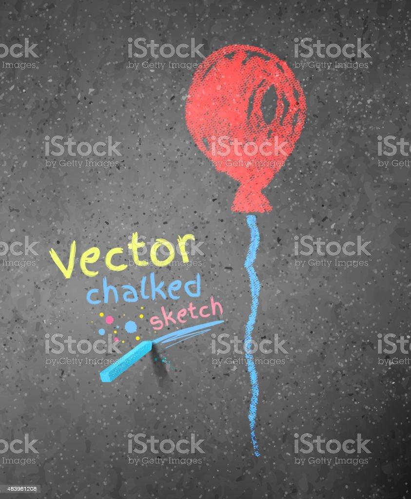 Chalk drawing of red balloon. vector art illustration