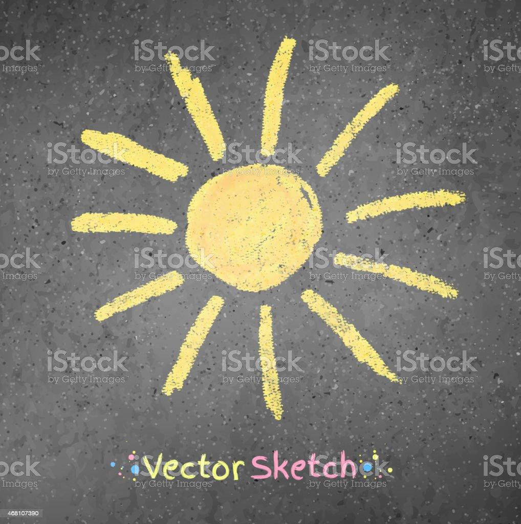 Chalk drawing of sun vector art illustration