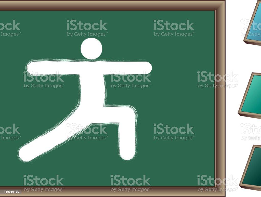 Chalk drawing of yoga pose on blackboard royalty-free stock vector art