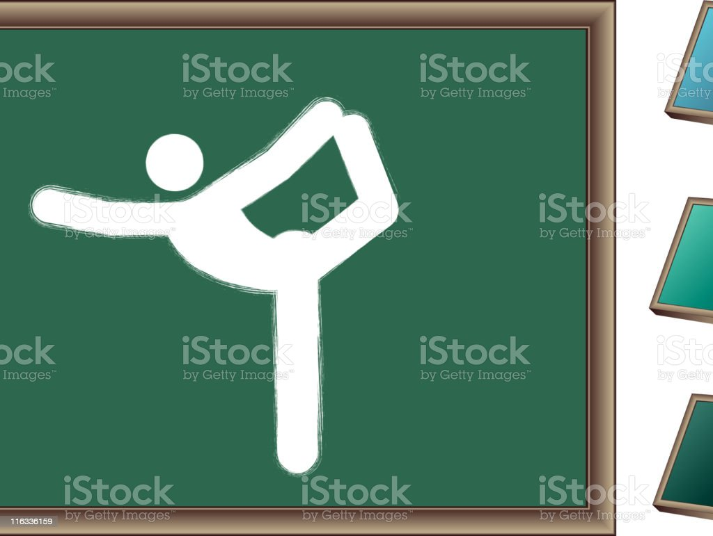 Chalk drawing of yoga pose on blackboard royalty-free stock vector art