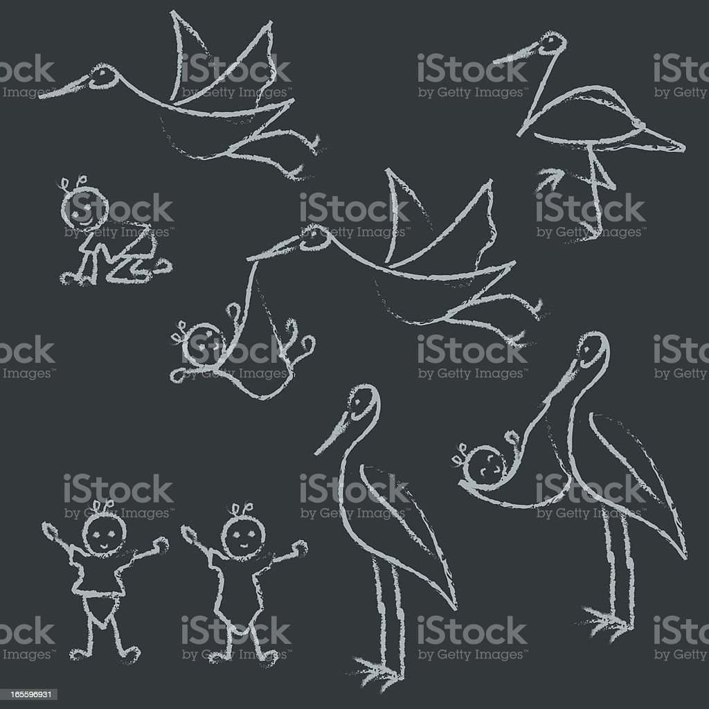 Chalk drawn baby and stork line doodles. vector art illustration