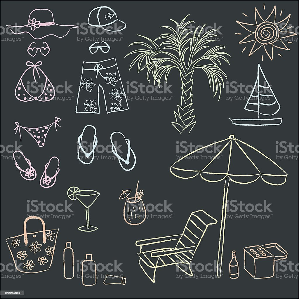 Chalk drawn doodles of adult beach gear. vector art illustration