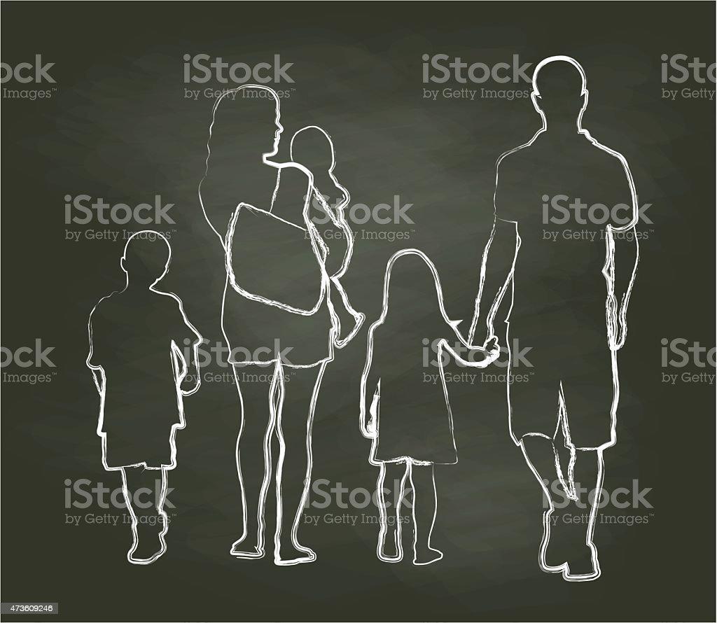 Chalk Family Time vector art illustration