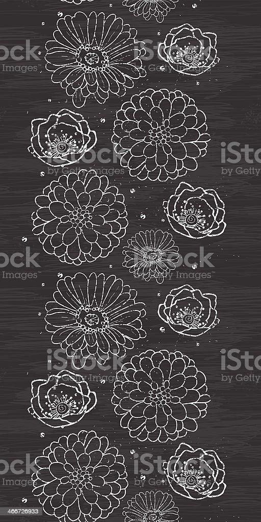 Chalk flowers blackboard vertical border seamless pattern background royalty-free stock vector art