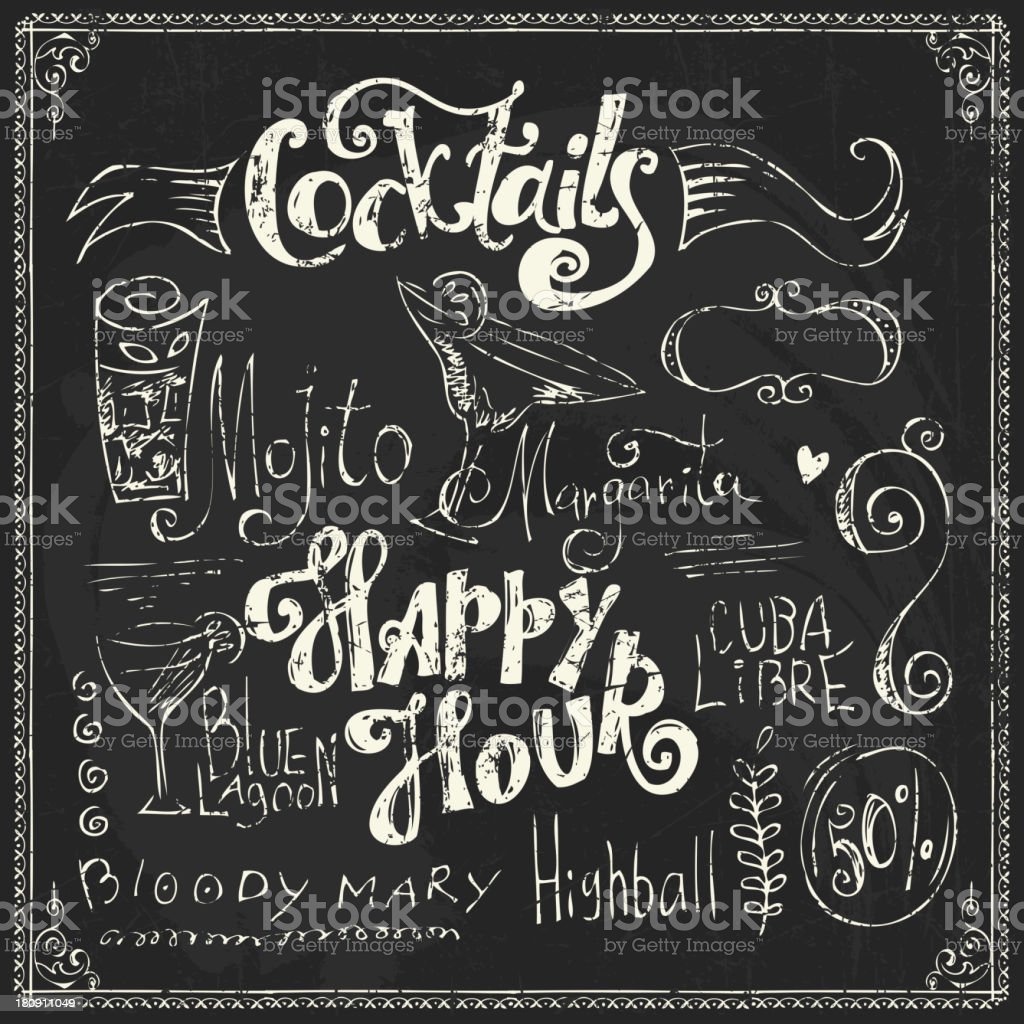 Chalk lettering. Cocktails doodles vector art illustration