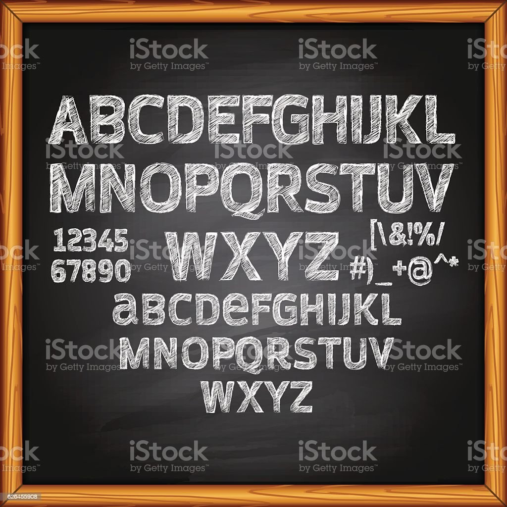 Chalk Lettering on Blackboard vector art illustration