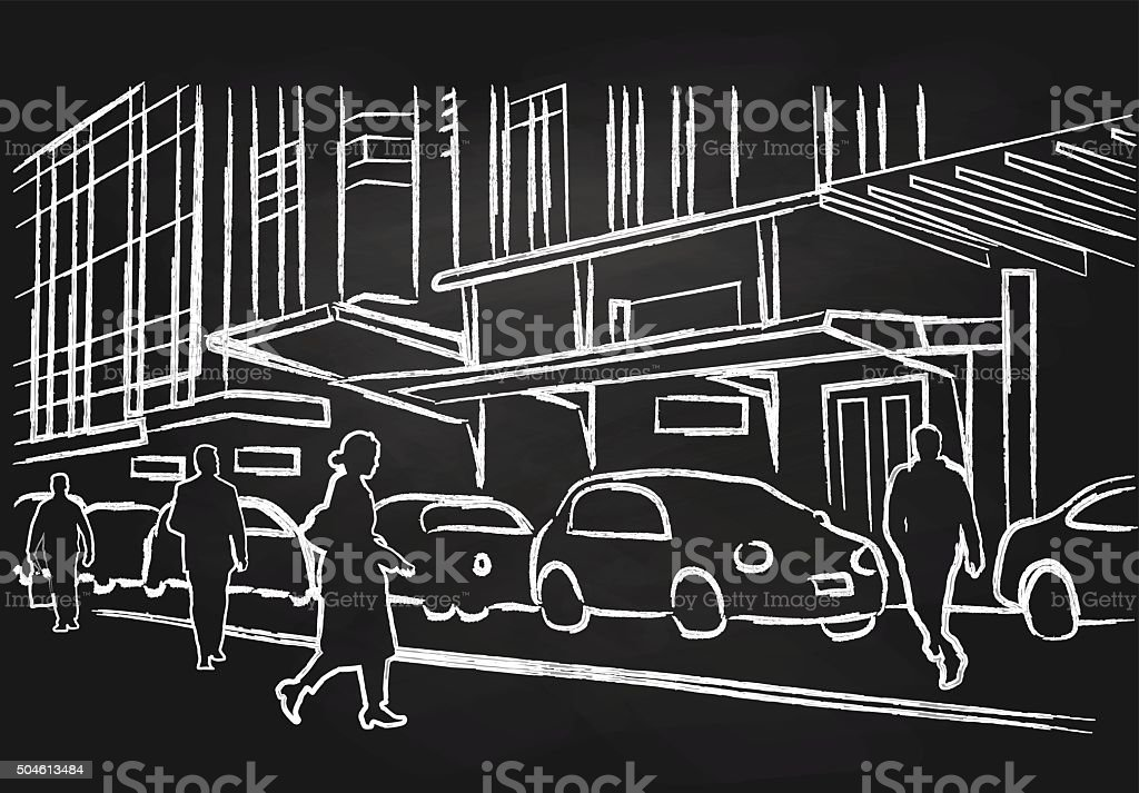 Chalk People Walking On The Street vector art illustration