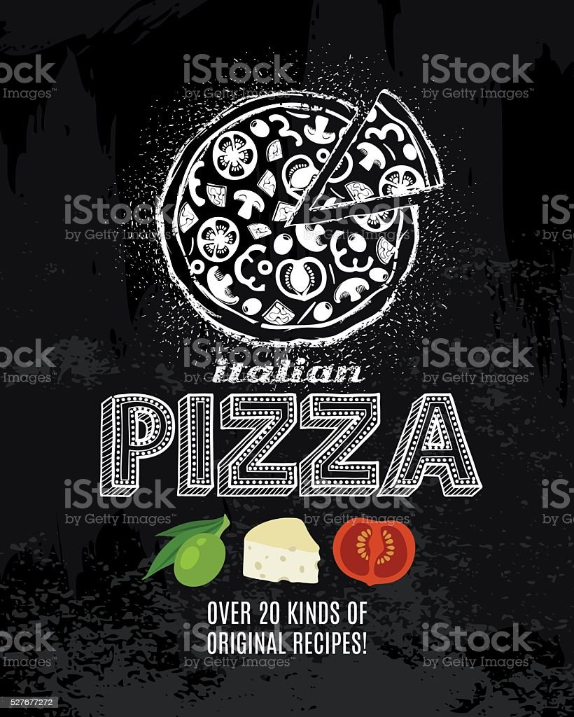 Chalk Pizza Poster vector art illustration