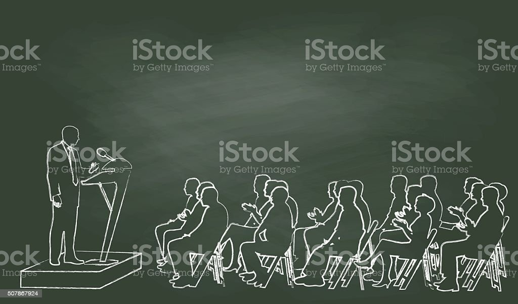 Chalk Public Speech vector art illustration
