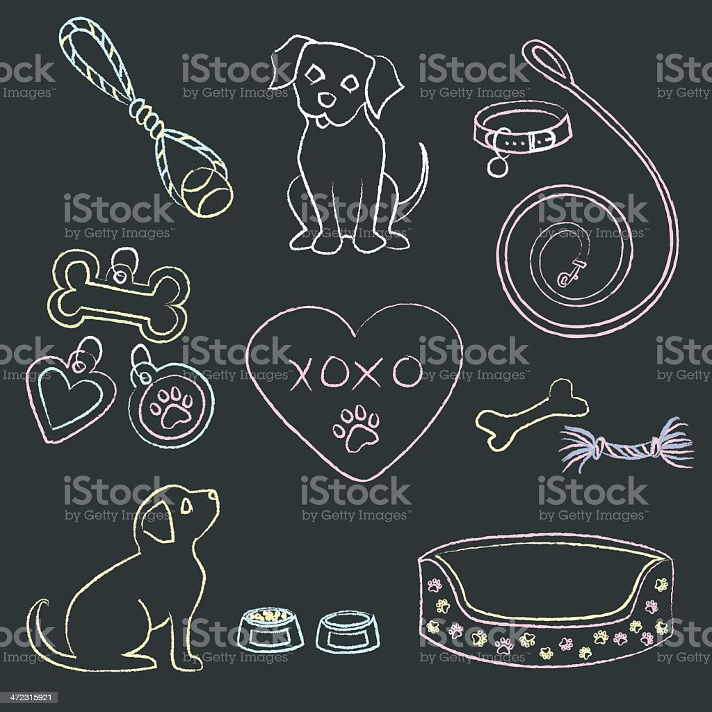 Chalk Puppies and Items vector art illustration