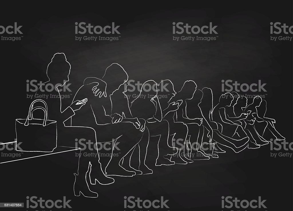 Chalk Silhouette Crowd Sitting vector art illustration